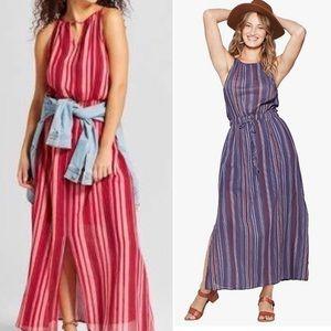 Two Universal Thread Maxi Dresses Striped